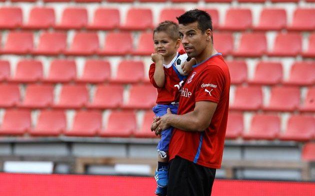 Milan Baroš vzal na trénink před zápasem s Maďarskem i svého syna.