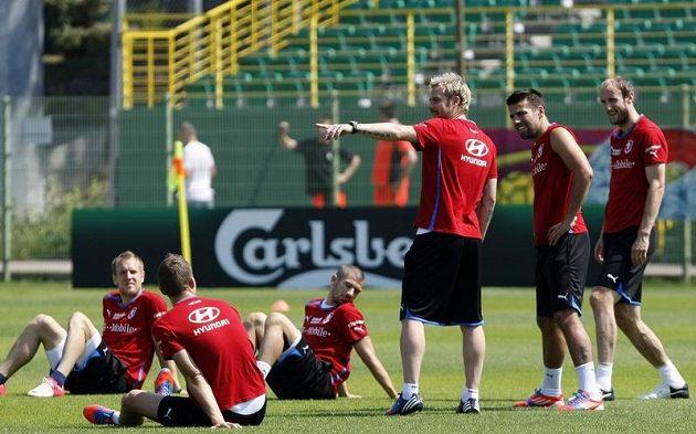 Tomáš Hübschman, Milan Baroš a Roman Hubník na tréninku fotbalové reprezentace v polské Vratislavi