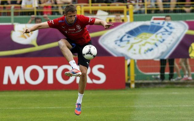 Tomáš Pekhart na tréninku české reprezentace