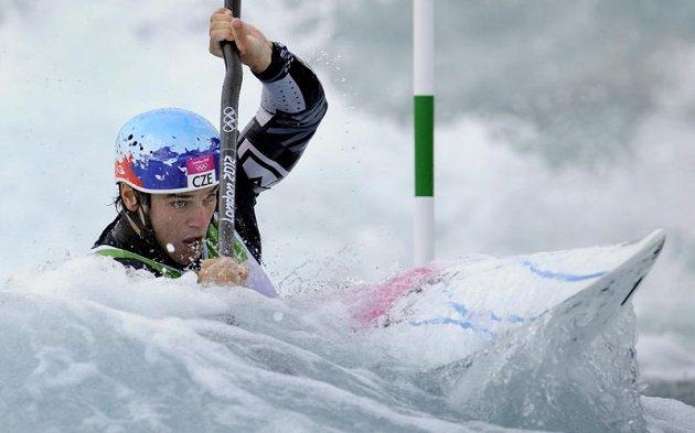 Kajakář Vavřinec Hradilek při olympijském finálovém závodu v Lee Valley