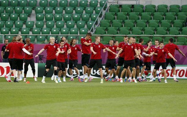 Čeští fotbalisté na tréninku v polské Vroclavi