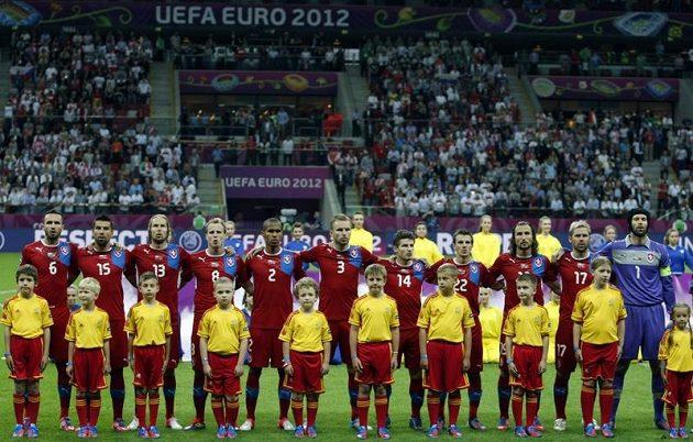 Český tým před čtvrtfinálovým utkáním ME 2012 s Portugalskem