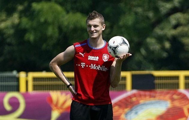 Tomáš Necid na tréninku fotbalové reprezentace v polské Vratislavi.