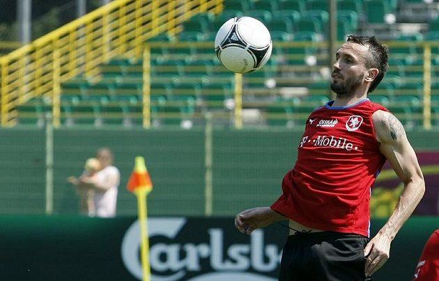 Tomáš Sivok na tréninku fotbalové reprezentace v polské Vratislavi