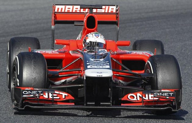 Timo Glock s vozem stáje Marussia.