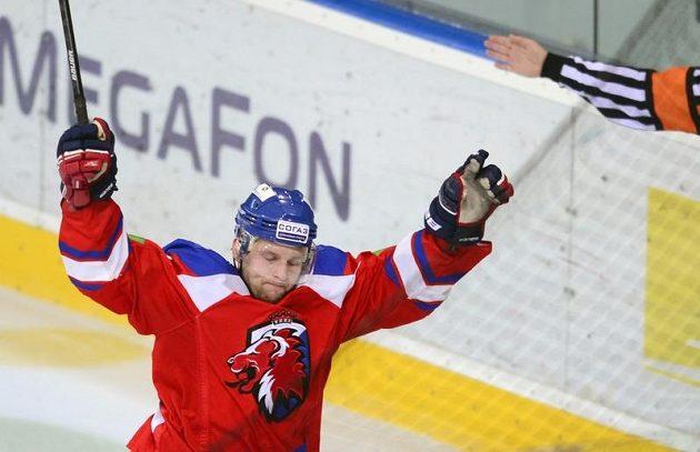 Útočník Lva Petr Vrána dal Čeljabinsku dva góly.