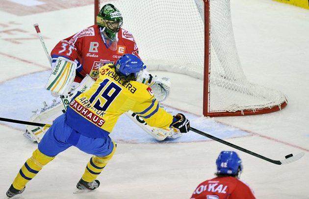 Švéd Calle Järnkrok před českým brankářem Alexanderem Salákem.