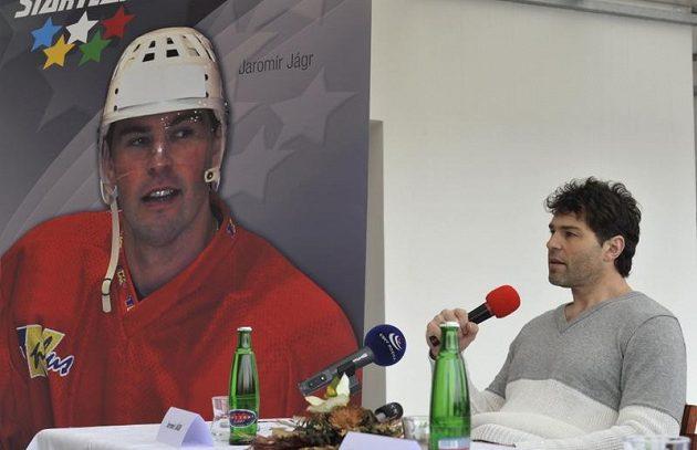 Jaromír Jágr na tiskové konferenci v Prostějově