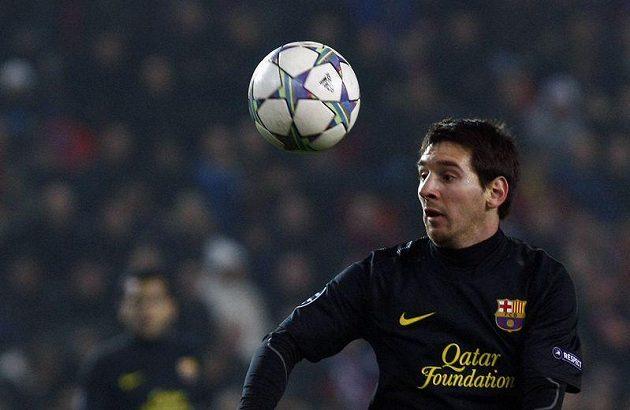 Lionel Messi z Barcelony při utkání v pražském Edenu proti Plzni.