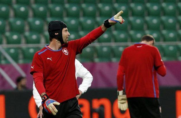 Petr Čech na tréninku fotbalové reprezentace