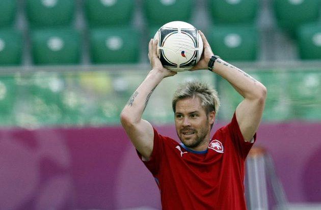 Tomáš Hübschman na tréninku fotbalové reprezentace před zápasem s Polskem