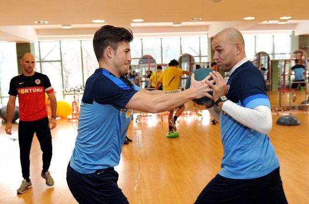 Lukáš Vácha (vlevo) a Roman Bednář během kondičního soustředění Sparty Praha