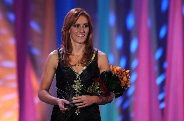 Skifařka Mirka Knapková na vyhlášení ankety Sportovec roku 2012. Skončila třetí