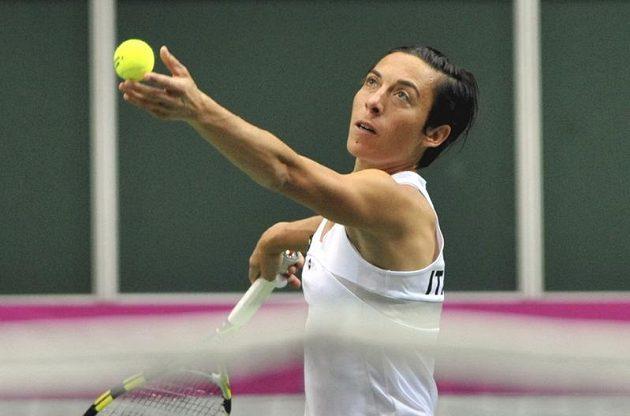 Semifinálové utkání tenisového Fed Cupu. Francesca Schiavoneová bojuje proti Petře Kvitové.
