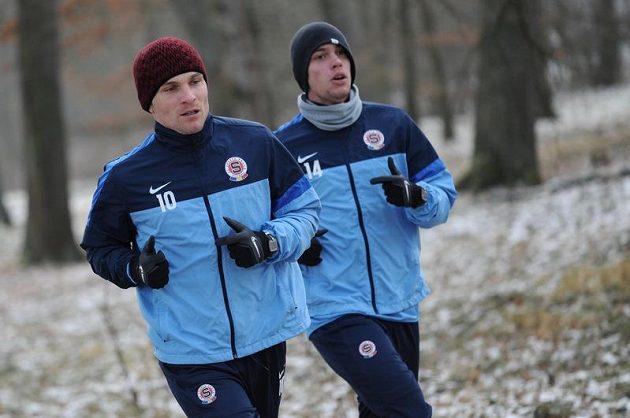 David Lafata (vlevo) a Václav Kadlec během kondičního soustředění Sparty Praha