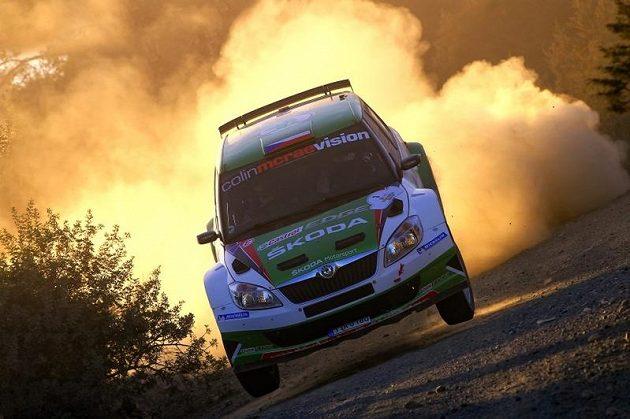 Jan Kopecký na rychlostní zkoušce Kyperské rallye 2011, po níž zůstal 1,5 bodu od titulu šampióna IRC.