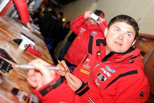 Martin Prokop na autogramiádě při Rallye Monte Carlo 2013.