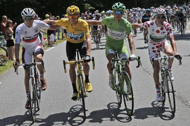 Zleva Tejay van Garderen, Bradley Wiggins, Peter Sagan a Thomas Voeckler
