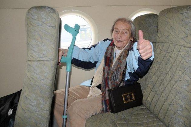 Dana Zátopková byla z letu nadšená.