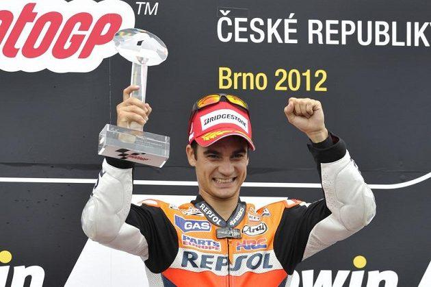 Španěl Dani Pedrosa, vítěz Velké ceny ČR v Brně v královské kategorii MotoGP
