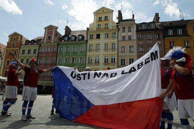Čeští fotbaloví fanoušci ve Vratislavi