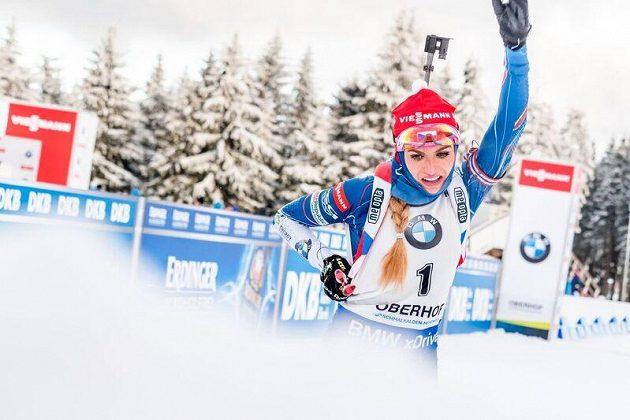 Gabriela Koukalová při SP v Oberhofu.