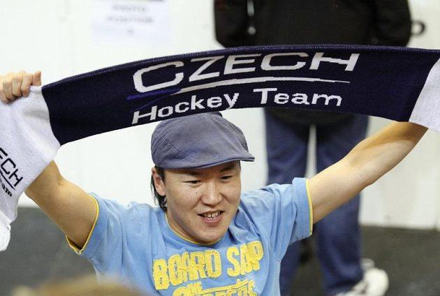 Fanoušek českého týmu na Kajotbet Hockey Games v Brně v utkání proti Finsku.