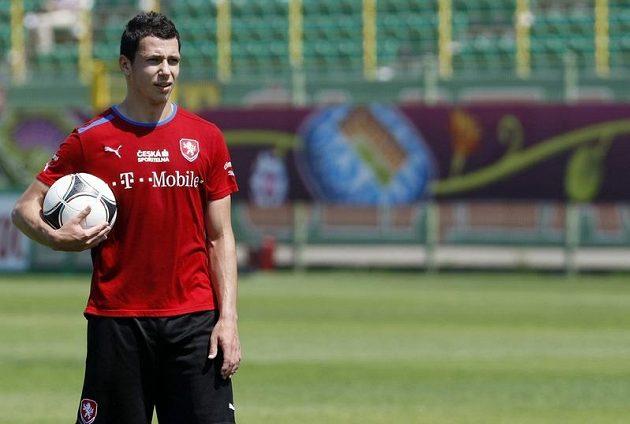 Marek Suchý na tréninku fotbalové reprezentace v polské Vratislavi