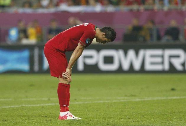 Zklamaný Cristiano Ronaldo po porážce Portugalců od Německa