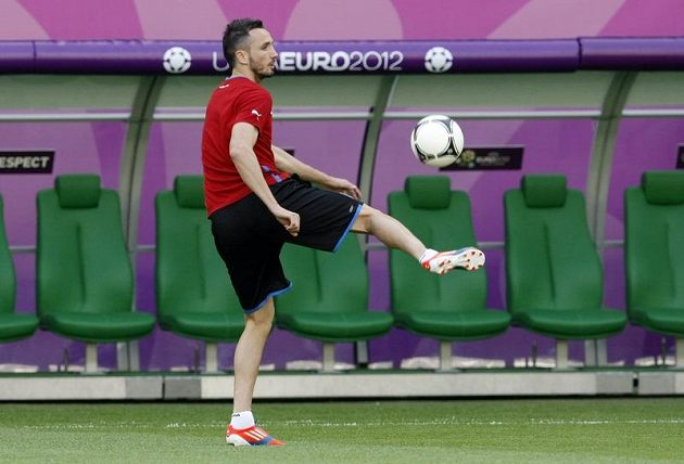 Tomáš Sivok na tréninku fotbalové reprezentace před zápasem s Polskem