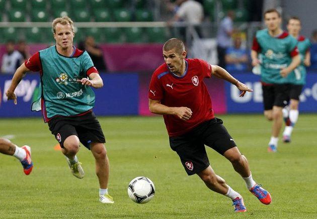 Jan Rezek (vpravo) a David Limberský na tréninku reprezentace