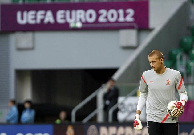 Brankář polské fotbalové reprezentace Grzegorz Sandomierski na tréninku před zápasem proti Česku