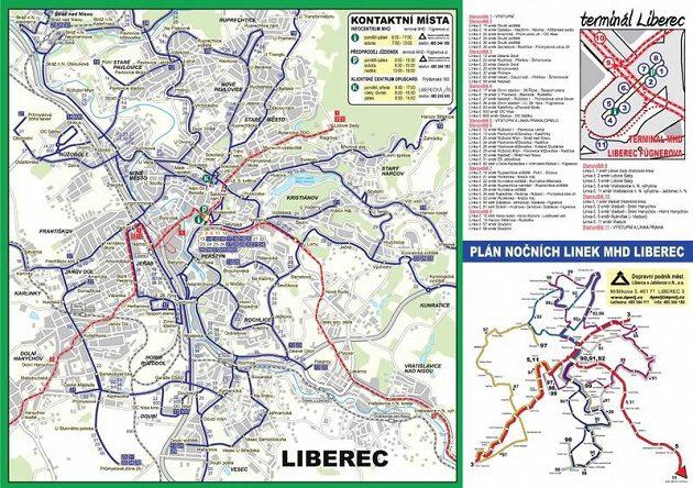 Plánek linek MHD Liberec.