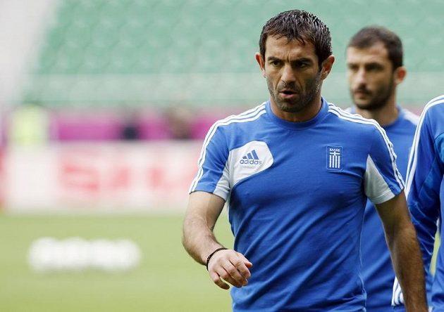 Giorgos Karagounis během tréninku řeckých fotbalistů
