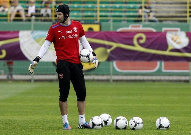 Petr Čech na tréninku fotbalové reprezentace po debaklu s Ruskem