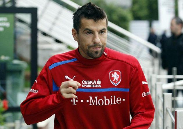 Milan Baroš přichází na trénink v polské Vratislavi