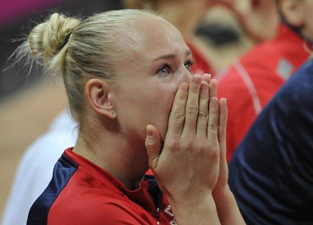 Slzy v očích Michaela Zrůstové po vyřazení českého týmu ve čtvrtfinále OH.