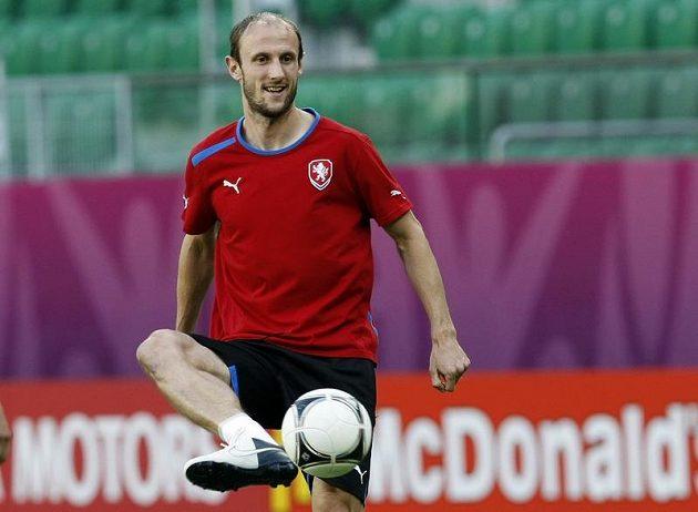 Roman Hubník na tréninku fotbalové reprezentace před zápasem s Polskem