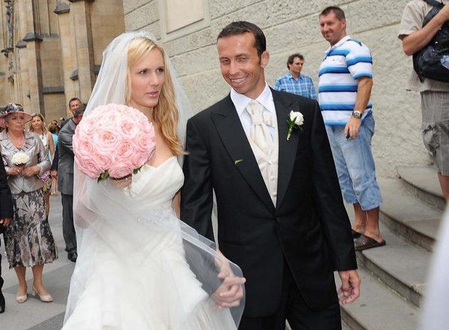 Nicole Vaidišová a tenista Radek Štěpánek před svatebním obřadem.