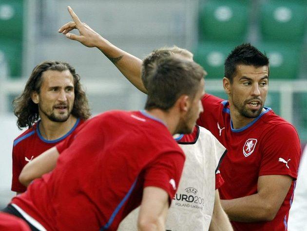 Milan Baroš na tréninku fotbalové reprezentace před zápasem s Polskem