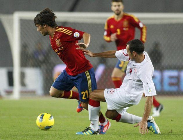 Španělský záložník David Silva během kvalifikačního utkání o postup na MS 2014 v Gruzii.