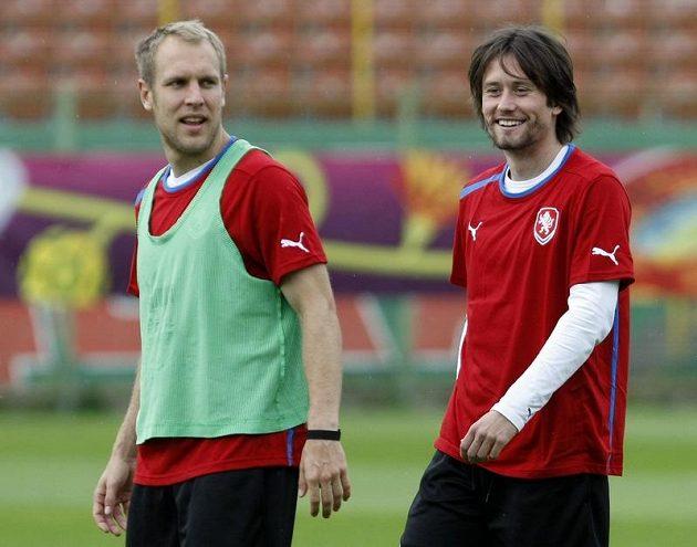 Daniel Kolář a Tomáš Rosický na tréninku fotbalové reprezentace v polské Vratislavi