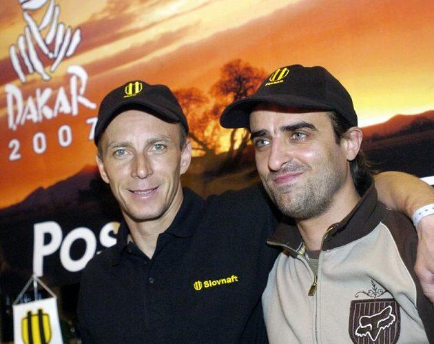 Dvě velká jména slovenského motocyklového sportu. Jaroslav Katriňák a Ivan Jakeš (vpravo).