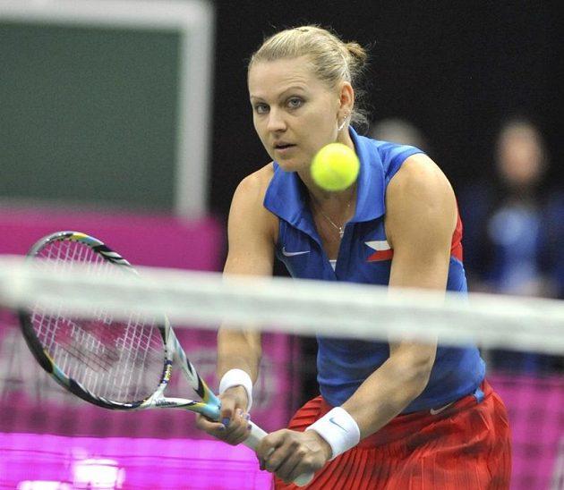 Lucie Šafářová přio sobotním zápase Fed Cupu v Ostravě