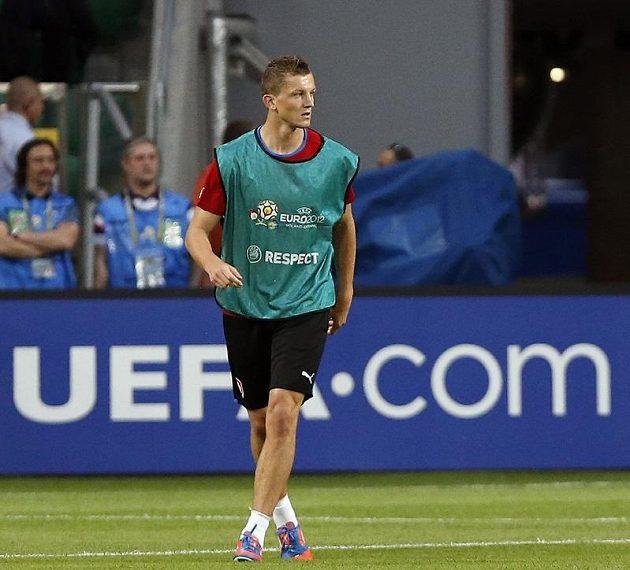 Tomáš Necid na tréninku fotbalové reprezentace