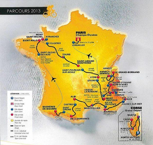 Trať cyklistické Tour de France pro ročník 2013.
