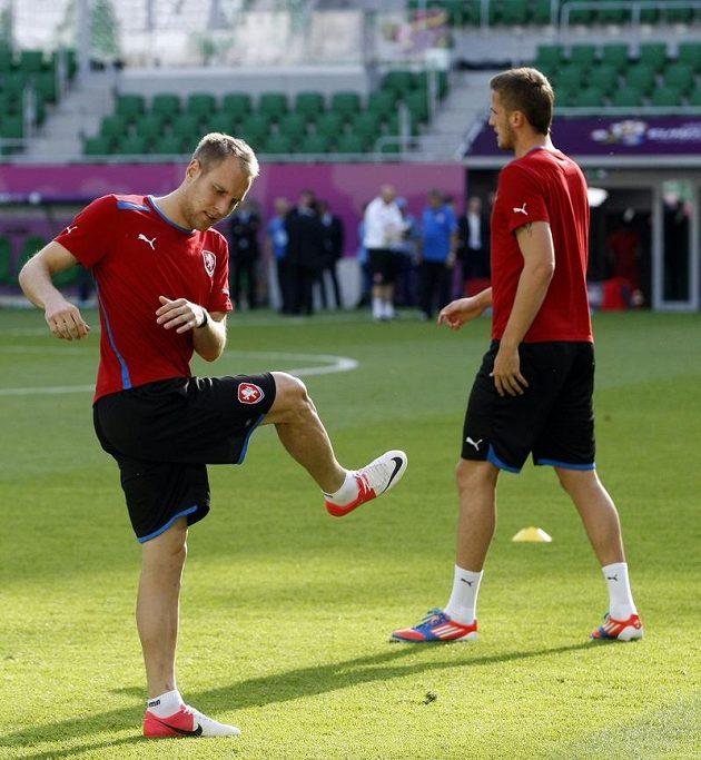 Daniel Kolář na tréninku fotbalové reprezentace před zápasem s Polskem