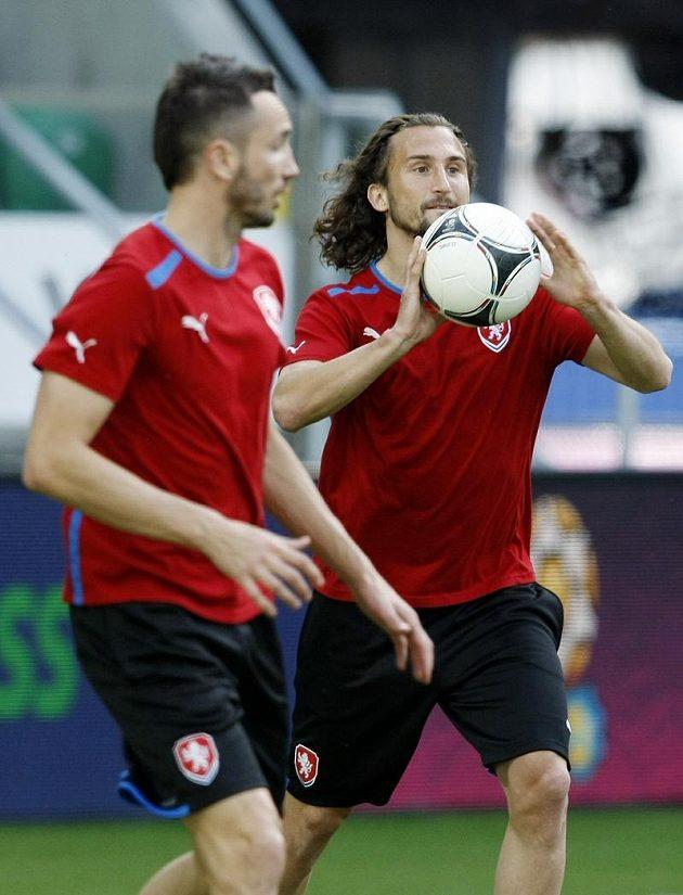 Petr Jiráček na tréninku fotbalové reprezentace před zápasem s Polskem