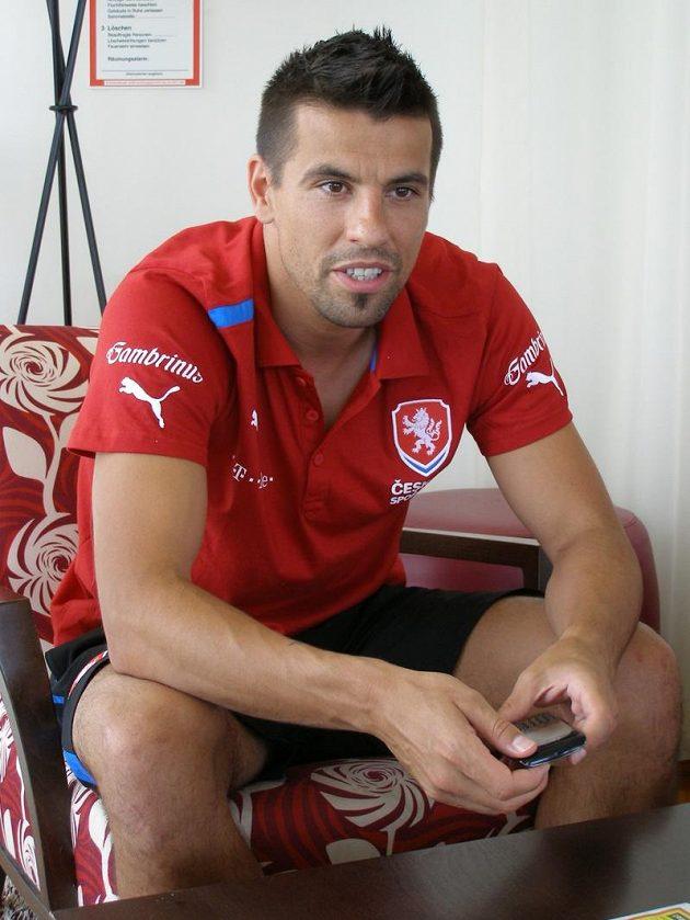 Milan Baroš na soustředění fotbalové reprezentace v Bad Waltersdorfu.