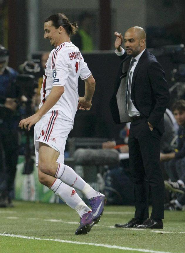 Útočník AC Milán Zlatan Ibrahimovic (vlevo) a trenér Barcelony Josep Guardiola